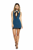 Cutout Clubwear Dress with Striped Mesh Detail