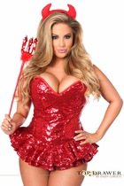 Daisy TD-904 Top Drawer Premium Sequin Devil Corset Dress Costume