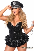 Daisy TD-909 Top Drawer Premium Sequin Cop Corset Dress Costume