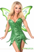 Daisy TD-934 Top Drawer Green Sequin Fairy Corset Dress Costume
