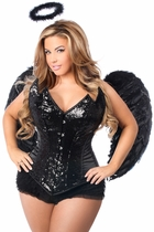 Daisy TD-954 4 PC Sequin Black Angel Corset Costume