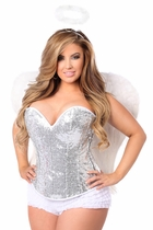 Daisy TD-965 4 PC Sexy Silver Sequin Angel Corset Costume