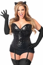 Daisy TD-978 4 PC Sequin Black Cat Corset Costume