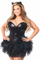 Daisy TD-980 3 PC Sequin Cat Corset Costume