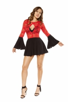 Dancewear Flared Lace Dress with Cutout Detail and Flared Sleeves