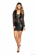 Dancewear Long Sleeved Lace-up Dress with Lace Detail
