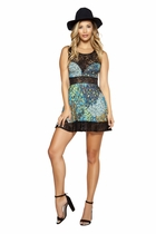 Dancewear Printed Flared Dress with Lace Detail