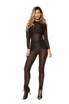 Roma 3405 Semi Sheer Striped Jumpsuit