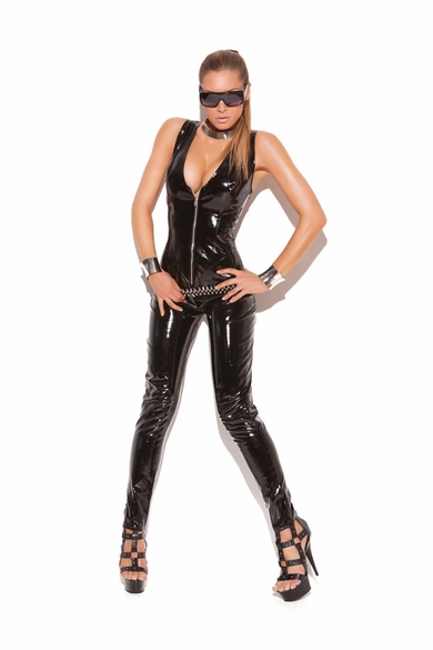 Elegant Moments V9216 Deep V Vinyl Catsuit