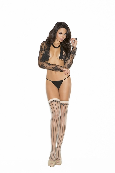Elegant Moments 1112 Pin Striped Thigh Hi With Satin Bow