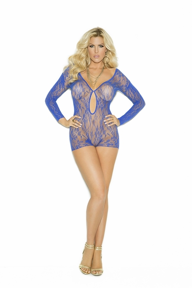 Plus Size Elegant Moments 1593Q Long Sleeve Lace Romper