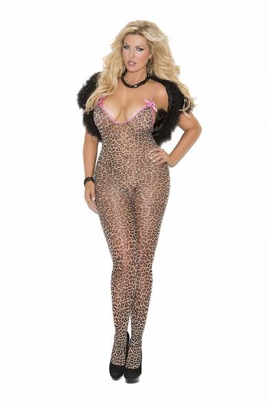 Plus Size Elegant Moments 8549Q Leopard Bodystocking