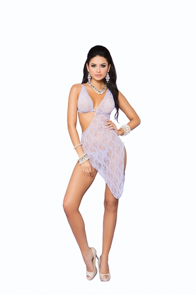 Elegant Moments 88037 Lace Asymmetrical Gown And G-String