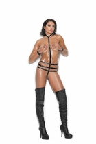 Elegant Moments L2273 Leather Teddy W/Chain And Restraints