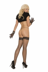 Elegant Moments 1757 Fence Net Thigh Hi with Lace Top