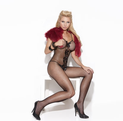 Elegant Moments 8567 Fishnet Bodystocking W/Hearts