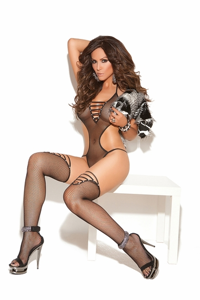 Elegant Moments 8741 Fishnet Teddy with Matching Stockings