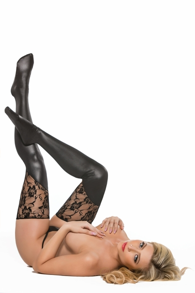 Allure 7-3602K Lace and Wet Look Thigh-Hi