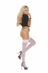 Elegant Moments 1703 Lace Top Thigh Hi's with Floral Bow Applique