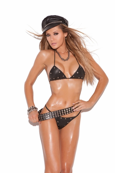 Elegant Moments L1112 Leather Studded Bra with G-String
