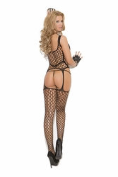 Elegant Moments 8913 Net and Opaque Suspender Bodystocking