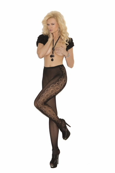 Elegant Moments 1821 Opaque Pantyhose with Floral Design