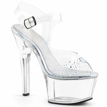 Pleaser Aspire-608SD Ankle Strap Sandal With Rhinestones