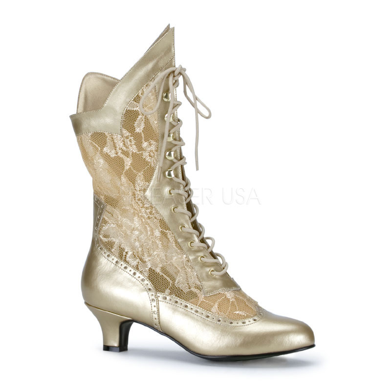 544fc586ed9 Pleaser Dame-115 Lace Victorian Ankle Boots