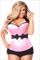 Plus Size Daisy LV-602 Pink Halter Corset w/Bow