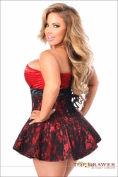 Plus Size Daisy TD-129 Red Lace Steel Boned Corset Dress