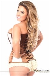 Daisy Corsets Plus Size TD-198 Ivory/Brown Steel Boned Corset