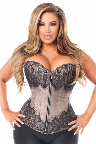 Plus Size Daisy TD-255 Gunmetal Brocade Steel Boned Corset w/Black Eyelash Lace