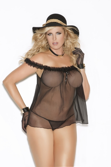 Plus Size Elegant Moments 8631X Off Shoulder Babydoll with G-String