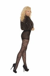 Elegant Moments 1841 Sheer Pantyhose with Criss Cross Detail
