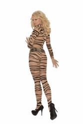 Elegant Moments 1690 Sheer Zebra Print Long Sleeve Bodystocking