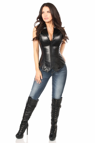 Daisy Corsets Top Drawer Faux Leather Collared Steel Boned Corset