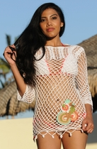 Ujena Crochet Long Sleeve Islander Cover-Up