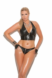 Elegant Moments L9203 Zip Up Leather Thong