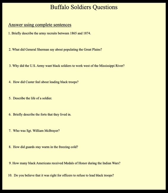 Buffalo Soldiers Questions