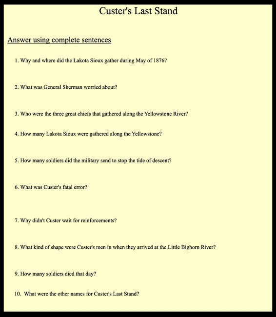 Custer's Last Stand Questions