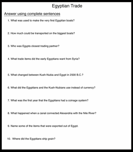 Egyptian Trade Questions