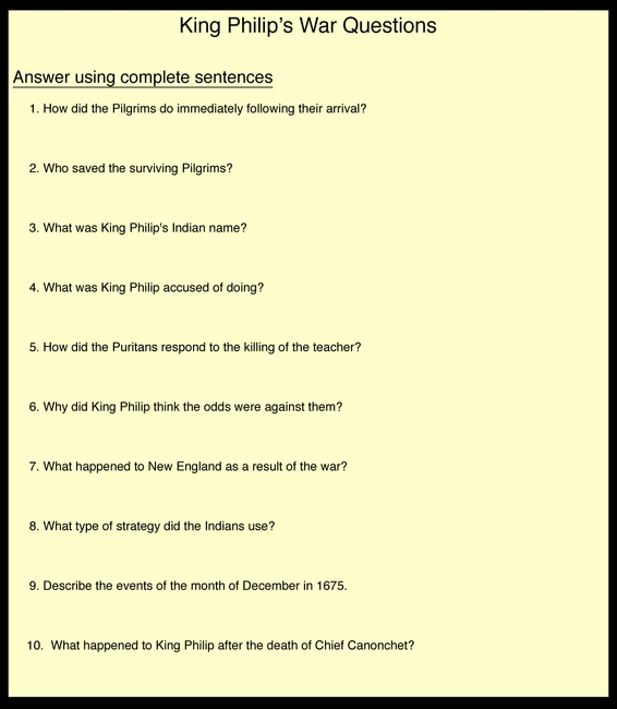 King Philip's War Questions