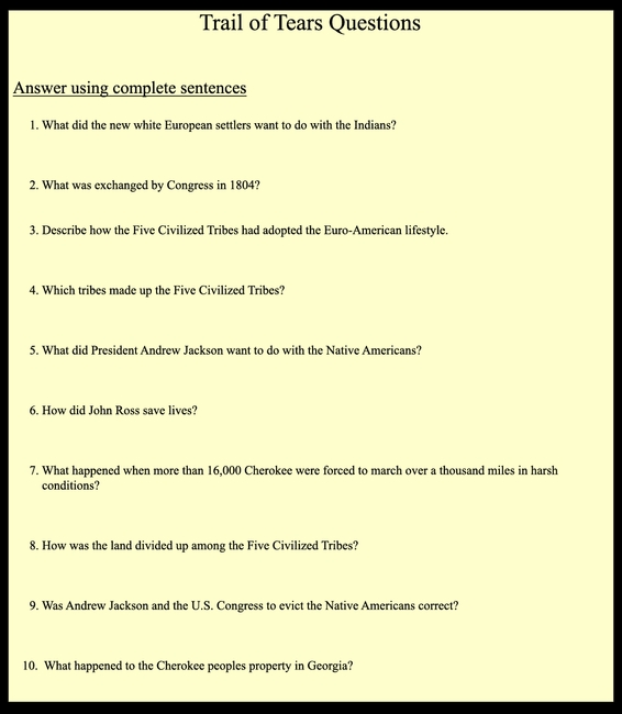 Trail of Tears Questions