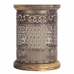 """10"""" Antique Gold Tin Punched Pillar Candle Holder, Set of 2"""
