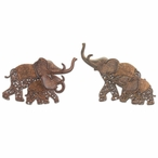 "10"" Elephants with Baby Elephants Metal Wall Art, Set of 2"