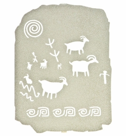 "10"" Petroglyph Hunt Ancient Tablet Metal Wall Art by Bindrune Design"