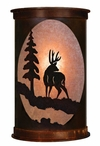 "13"" Deer and Pine Tree Half Round One Light Metal Wall Sconce"