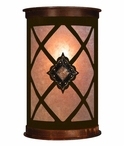 "13"" Diamond Copper Concho Half Round One Light Metal Wall Sconce"