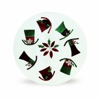 """13"""" Glass Top Hat with Holiday Flower Plates, Set of 4"""