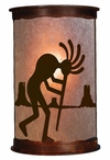 "13"" Kokopelli Desert Scene Half Round One Light Metal Wall Sconce"